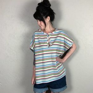 Vintage 1970s Rainbow Striped Top Plus Size
